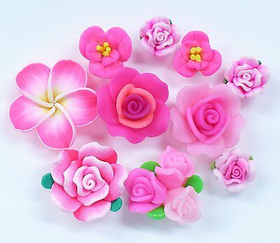 10 pcs Mixed Hot Pink Clay Flowers Cute Flat Back Resin Decoden Cabochons