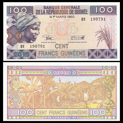 GUINEA 100 Francs Banana Harvesting and Young Woman P New from 2015