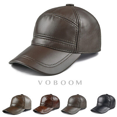 98b5b37a98b Genuine Cow Leather Baseball Cap Leather Hats for Men Winter Warm  Adjustable 1