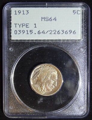 "1913 Buffalo Nickel - Type 1 - PCGS MS64 - ""Rattler"" Holder! Potential Upgrade!!"