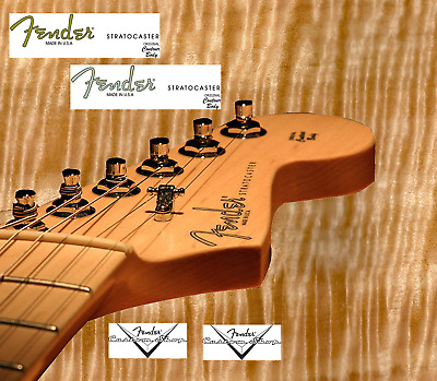 4 x Decalcomania Decal Fender Stratocaster Chitarra Guitar Gold  Grey