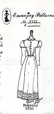 1:12 scale Emanjay Dollhouse Doll Clothes Pattern-#2121 1820's RegencyGown uncut