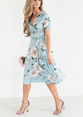 Women Floral Print Short Sleeve Dress Ladies Boho Long Maxi Summer Evening Party