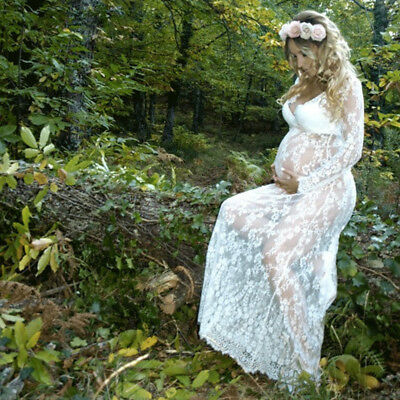 1Pc Pregnant Women Long Sleeve Lace Maternity Photography Props Long Maxi Dress