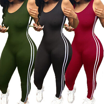 US STOCK Women's Sport Yoga Gym Rompers Suit Fitness Workout Jumpsuit Bodysuits