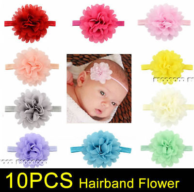 10PCS Baby Girls Flower Hairband Soft Elastic Headband Hair Accessories Bands