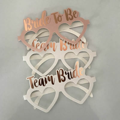 10PCS Team Bride Glasses Bachelorette Party Rose Gold Hen Night Out Photo Props