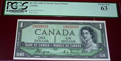 1954 World Famous Devils Face  $1 Bank Of Canada Pcgs 63 Choice New
