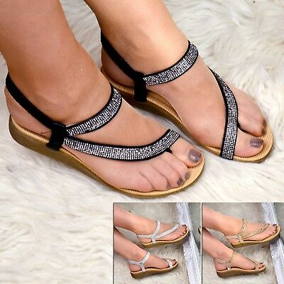 Ladies Flat Diamante Sandals Low Heel Wedge Strappy Summer Shoes Toe post Size