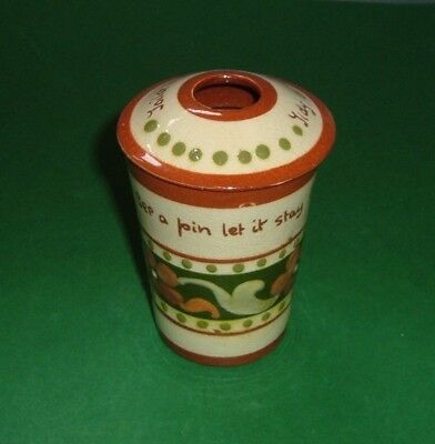 Torquay Pottery,   Aller Vale,  Toilet  Tidy  with  Lid.    RARE.  ( 567 )