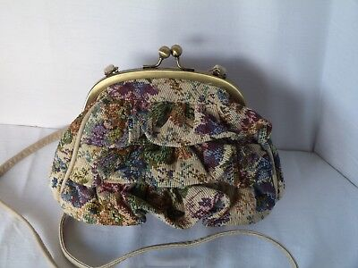 Vintage 1960s small tapestry bag with a difference - purse or shoulder bag