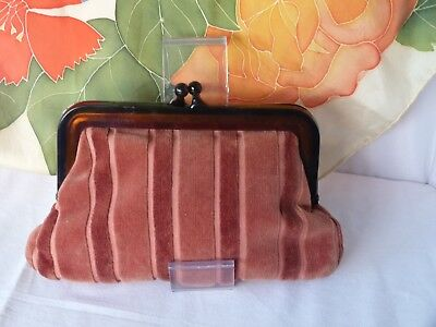 Vintage velvet evening purse, copper tones with amber coloured lucite frame