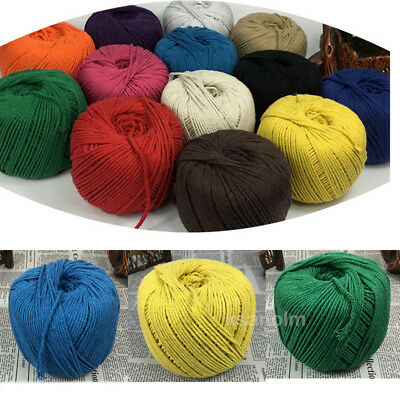 3/4mm Macrame Rope Colorful Cotton Twisted Cord Artisan String DIY Hand Craft