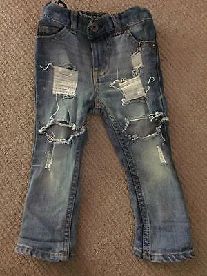 OSH Kosh Baby Jeans Distressed By Love Sick Threads Size 18 Months EUC