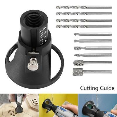 11Set Dremel Rotary Multi Tool Cutting Guide Attachment Kit HSS Router Drill Bit