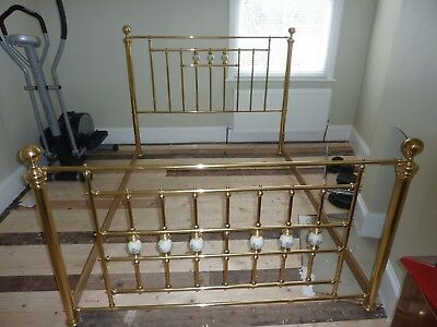 King Size (5 Ft) Brass Divan Bed Frame Surround With Porcelain Detail