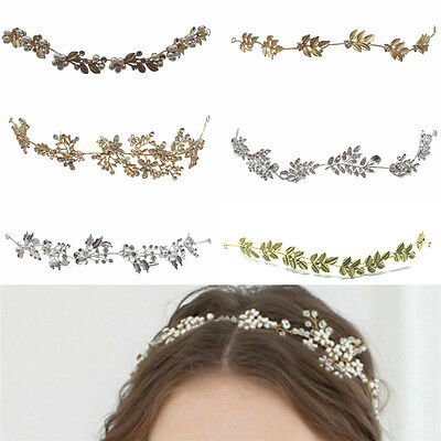 Vintage Boho Hair Vine Wedding Headband Hairband Bridal Gold Silver Crystal M&R