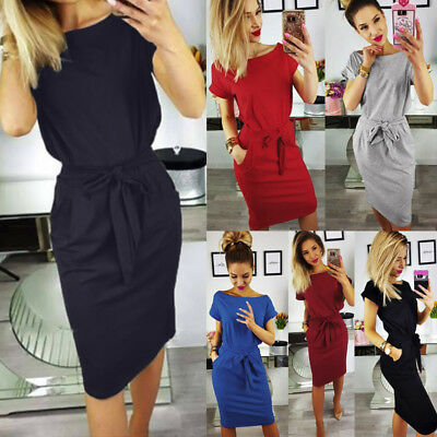 Fashion Women Evening Party Dress Summer Ladies Short Sleeve Pocket Mini Dresses