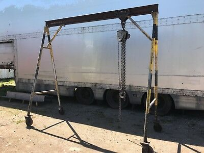 A Frame Gantry block and tackle used for haulage equipment in a garage
