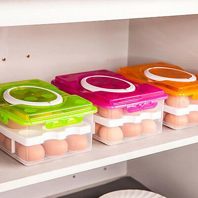 FX- Egg Stack Tray Holder 2 Layer Deviled Eggs Carrier Container Storage Box Exo