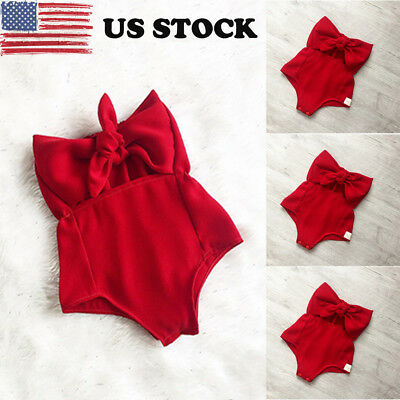 US Toddler Infant Baby Sleevless Off Shoulder Romper Bodysuit Jumpsuit outfit