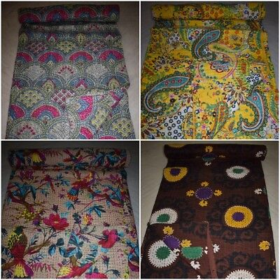 New Beautiful Indian Handmade Kantha Quilt PatchWork Ethnic Cotton Vintage Gudri