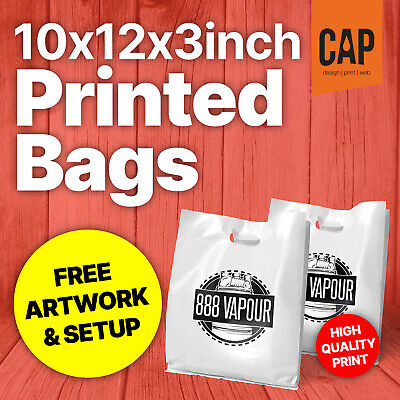 "10""x12""x3"" SMALL PERSONALISED CARRIER BAGS FROM 5p • PLASTIC / POLYTHENE BAGS"