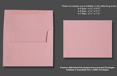 A2▪A6▪A7 60# Premium Pastel Pink Announcement Envelopes - Various Quantities
