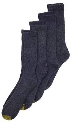$45 GOLD TOE Men`s 4-Pair Pack GRAY COTTON CUSHIONED CASUAL CREW SOCKS Size 6-12