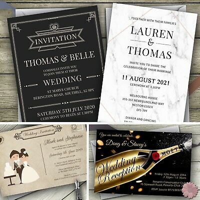Wedding Invitations Day Evening Personalised Invites Reception with envelopes
