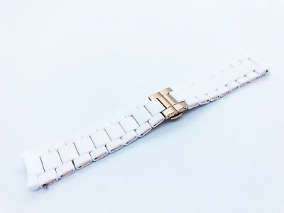 White 20mm RUBBER/STEEL Strap Band Bracelet fit Emporio Armani AR5943 watch