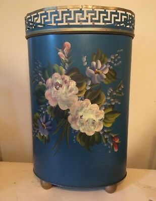 Vtg Plymouth Tole Hand Painted Tall Basket Trash Can Roses Floral Shabby Chic
