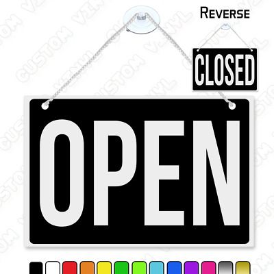open closed sign rigid plastic double sided hanging door sign, multi colours