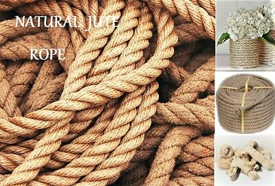 Best Natural Jute Rope Twisted 3-wire Art  Decking Garden Boating Survival Cord