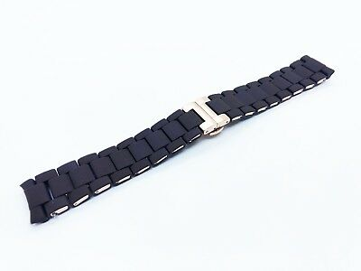 Brown 23mm RUBBER/STEEL Strap Band Bracelet fit Emporio Armani AR5890 watch