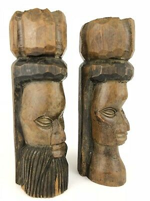 African Tribal Art Statue Hand Carved Wood Head Lot (2) Vintage Man Woman