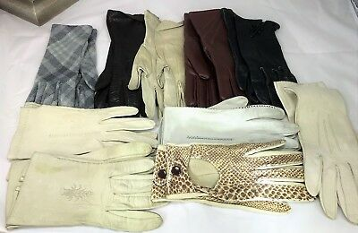 A Job Lot of 10 Pairs of Ladies Vintage Gloves Including Kid Leather