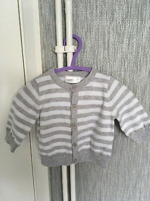 Baby Girls 0/3month Cardigan White & Grey Button Front