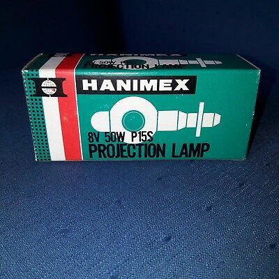 Projector lamp/bulb:Hanimex 8v 50w P15S  Used? Maybe New? In Original Box