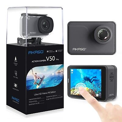 AKASO V50 Pro Native 4K/30fps 20MP WiFi Action Camera with EIS Touch Screen A...