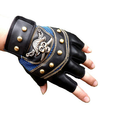 PU Leather Motorcycle Biker Punk Skull Gloves cycling Riding Fingerless