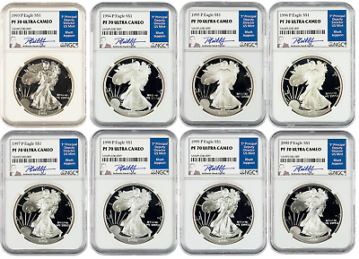 1993-2000 American Silver Eagles P Set PF 70 Ultra Cameo signed by Rhett Jeppson