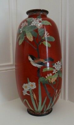 Antique Chinese Red Cloisonne Vase Birds & Flowers