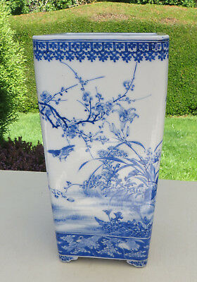 Antique 19th C Japanese Hand Painted Blue & White Tall Bonsai Pot / Planter
