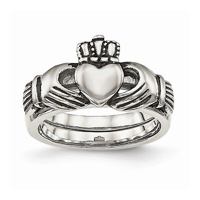 Stainless Steel Love, Loyalty, Friendship Claddagh Double Hinged Ring""