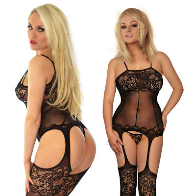 Womens Fishnet Bodystocking Crotchless Lingerie Nightwear Bodysuit Lace Tights
