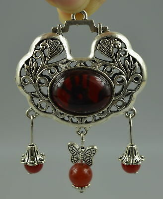 Collectibles Old Miao Silver Carving Hollow Out Flower Inlay Agate Rare Pendant