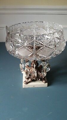 Beautiful Crystal Cut Bowl, brass pedestal and marble Base - vintage