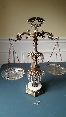Scales of Justice w/Crystal bowls, drops, brass pedestal, marble Base- vintage