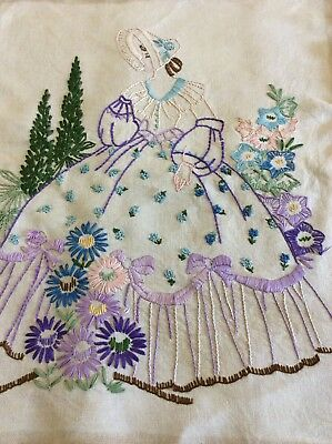 Vintage Embroidered Panel of a Crinoline Lady